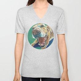 Yellow Labrador Dog Portrait Unisex V-Neck