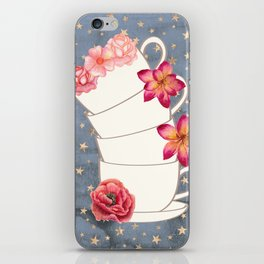 Floral Coffee Cups iPhone Skin