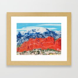 Pikes Peak Behind the Garden of the Gods Framed Art Print
