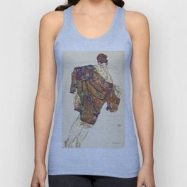 Woman in multicolourd coat by Egon Schielle Unisex Tank Top