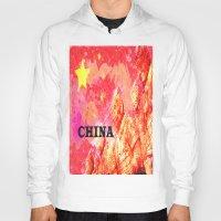 china Hoodies featuring China by Brian Raggatt