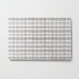 Slate Violet Gray SW9155 Watercolor Brushstroke Plaid Pattern on White Metal Print