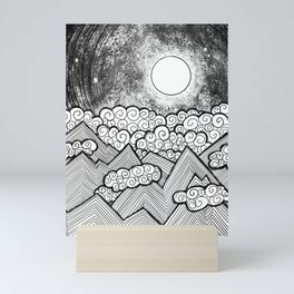 Moon and the Mountains / Full Moon / Black and White Mountains / Abstract Geometric Mountains Mini Art Print
