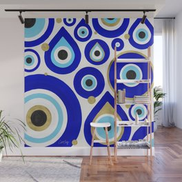 Evil Eye Charms on White Wall Mural
