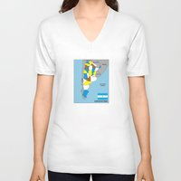 political V-neck T-shirts featuring political map of Argentina country with flag by tony tudor