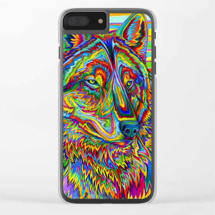 Colorful Psychedelic Rainbow Wolf Clear iPhone Case