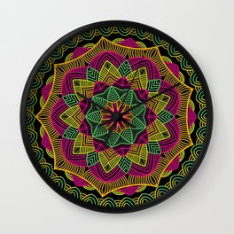 Neon pink, yellow, and green summer mandala on black Wall Clock