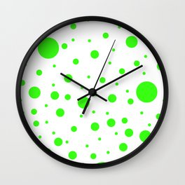 Mixed Polka Dots - Neon Green on White Wall Clock