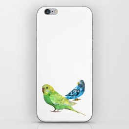 Geometric green and blue parakeets iPhone Skin