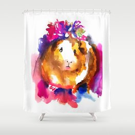 Guinea Pig in Flower Crown Shower Curtain