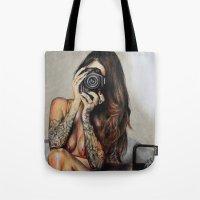 hello beautiful Tote Bags featuring Hello Beautiful by Kim Morrow