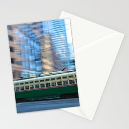 Green Cable Car Stationery Cards