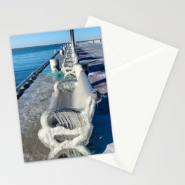 A line of Frozen Benches on Lake Erie Stationery Cards