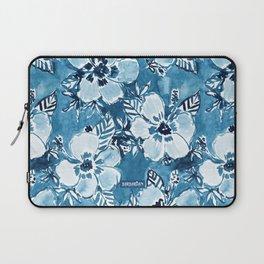 DANK DUDETTE Indigo Hibiscus Watercolor Laptop Sleeve