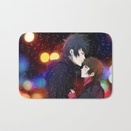 akane and kogami in the snow Bath Mat