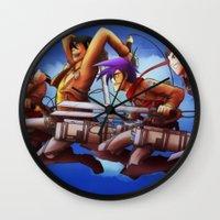 cartoons Wall Clocks featuring Shingeki no Cartoons by Witchy