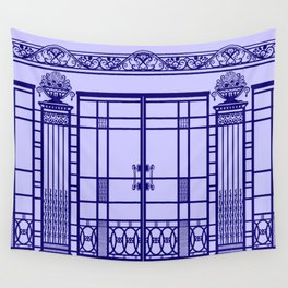 ART DECO, ART NOUVEAU IRONWORK: French Blue Wall Tapestry