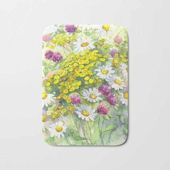 Watercolor meadow flowers spring Bath Mat