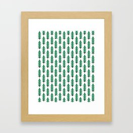 Christmas Tree forest holiday minimal decor festive winter trees green and white Framed Art Print