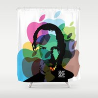 steve jobs Shower Curtains featuring Lab No. 4 - Steve Jobs Inspirational Typography Print Poster by Lab No. 4