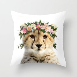 Baby Cheetah With Flower Crown, Baby Animals Art Print By Synplus Throw Pillow