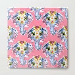 Cute Decorated Watercolor Elephant Pattern Metal Print