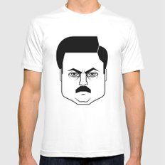 Ron Swanson Mens Fitted Tee White MEDIUM