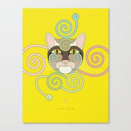 Yellow Spiral Cat Canvas Print