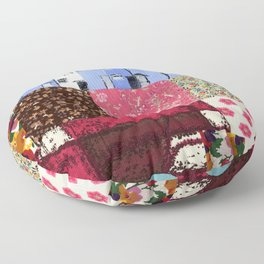Houses in a Patch Floor Pillow