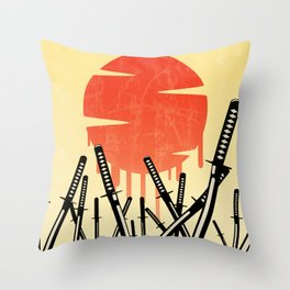 Katana Junkyard Throw Pillow