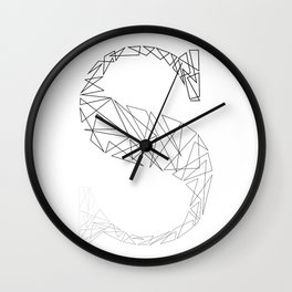 ''Geometry Collection'' - Minimal Letter S Print Wall Clock