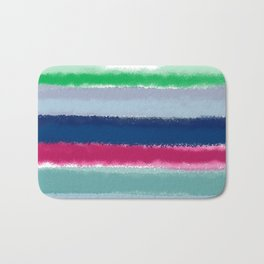 Bluish Blues 2 - Blues, Aqua, Greens, and Pinks, Stripes on White Bath Mat