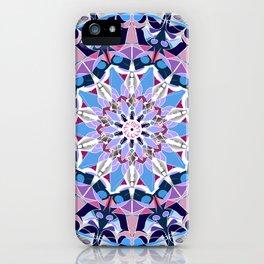 blue grey white pink purple mandala iPhone Case