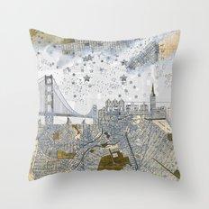 San Francisco skyline old map Throw Pillow