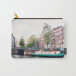 Amsterdam House Boats on Canal | Europe City Travel Urban Landscape Photography Carry-All Pouch
