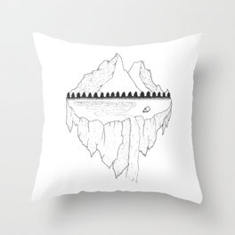 Serene Floating Mountain Campsite Throw Pillow