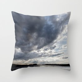 Dark Clouds Coming Over Lake In Scandinavia Throw Pillow