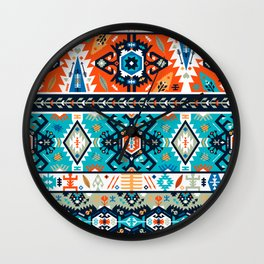 Fancy abstract geometric pattern in tribal style Wall Clock