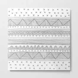 simple black and white fine line drawing Metal Print
