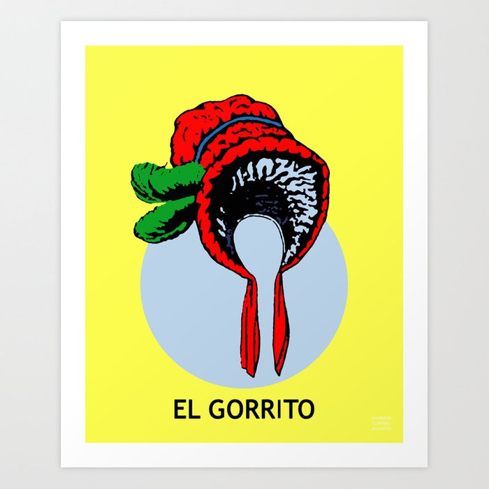 el gorrito mexican loteria card the small hat art print by