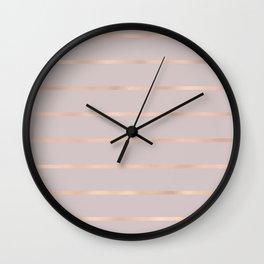 Elegant pastel pink faux rose gold stripes Wall Clock