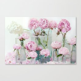 Peonies Cottage Aqua Pink Shabby Chic Watercolor Peony Prints Home Decor Canvas Print