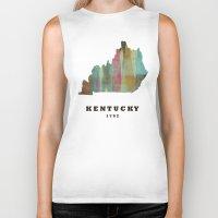 kentucky Biker Tanks featuring Kentucky state map modern by bri.buckley