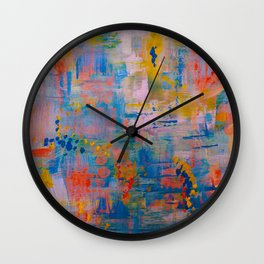 Summer in the Park, Blue Abstract Painting, Abstract wall art Wall Clock