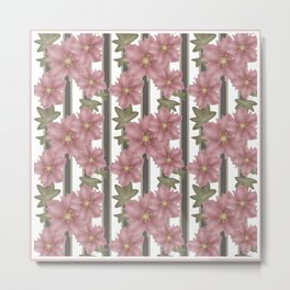 The floral pattern on striped background . Metal Print