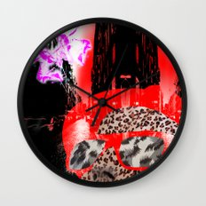 looking at a little pink city angel Wall Clock