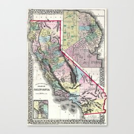 1872 Map of California and San Francisco Canvas Print