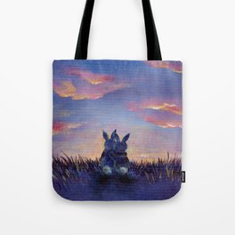 Snuggle Bunnies at Sunset Tote Bag