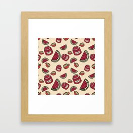 food seamless pattern with cup, jam and watermelon Framed Art Print