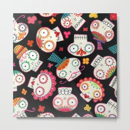 Sugar Skulls and Flowers Metal Print